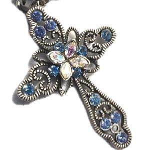 Cross Pendant Sparkling Blue Crystals